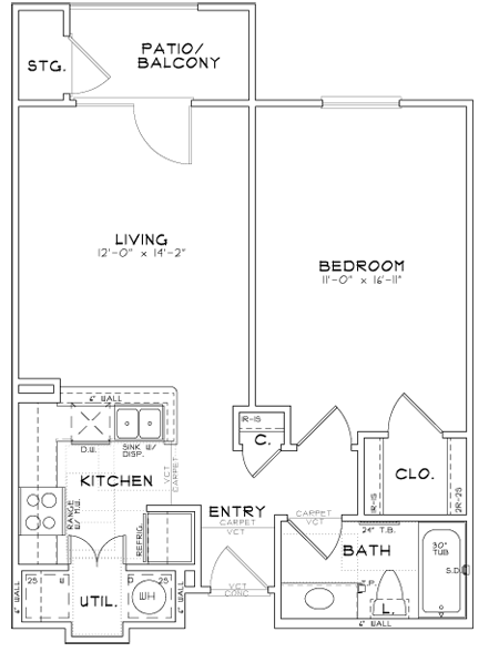 A1 - One Bedroom / One Bath - 654 Sq. Ft.*
