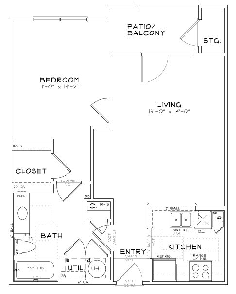 A2 - One Bedroom / One Bath - 709 Sq. Ft.*