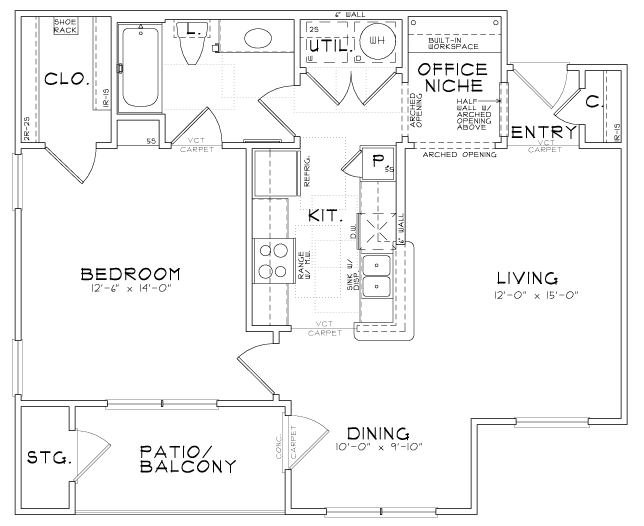 A3 - One Bedroom / One Bath - 800 Sq. Ft.*