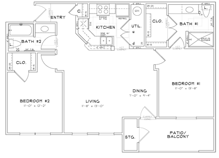 B2 - Two Bedroom / Two Bath - 1,032 Sq. Ft.*